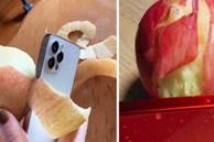 Khi muốn ăn táo mà không có dao, bạn có thể gọt vỏ bằng... iPhone 12
