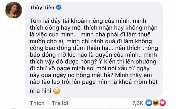 Bị anti-fan công kích chuyện đóng mở tài khoản, Thủy Tiên nổi đóa thách thức: Mình thích vậy đó được không?-2