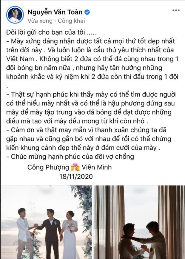 Văn Toàn viết tâm thư xúc động gửi bạn thân Công Phượng sau đám cưới, hé lộ suy nghĩ về cô dâu Viên Minh-1