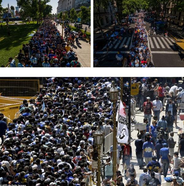 Choáng váng trước cảnh hàng vạn người Argentina nối đuôi nhau cả cây số để vào viếng Maradona: Số người tiễn đưa Cậu bé vàng ước tính lên tới cả triệu-1