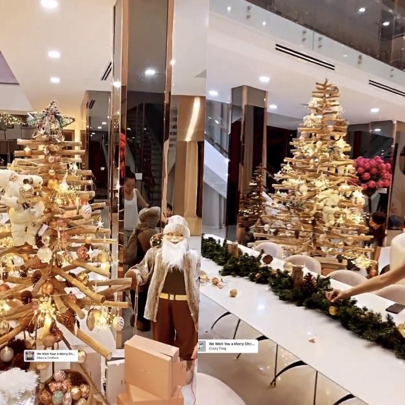 Ngọc Trinh lên đồ đón Giáng Sinh cho biệt thự 40 tỷ, hệt như cung điện dát vàng lấp lánh-1