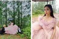 Lộ ảnh bạn gái cũ Quang Hải - Nhật Lê mặc váy cưới giữa rừng, 'lấp ló' chàng trai bí ẩn đi xế sang, đeo đồng hồ xịn hộ tống bên cạnh?