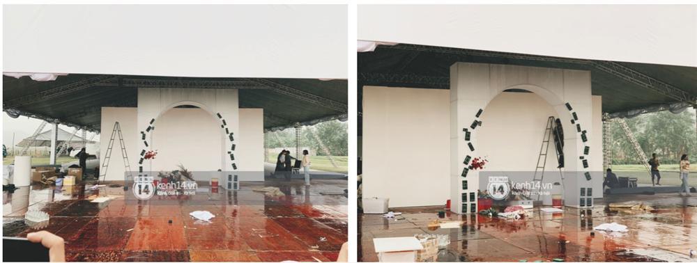Hé lộ không gian cưới rộng 500m2 của Công Phượng tại Nghệ An: Chú rể đội mũ cối đi kiểm tra, rạp được trang trí lãng mạn giữa sân bóng-5