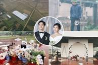 Hé lộ không gian cưới rộng 500m2 của Công Phượng tại Nghệ An: Chú rể đội mũ cối đi kiểm tra, rạp được trang trí lãng mạn giữa sân bóng