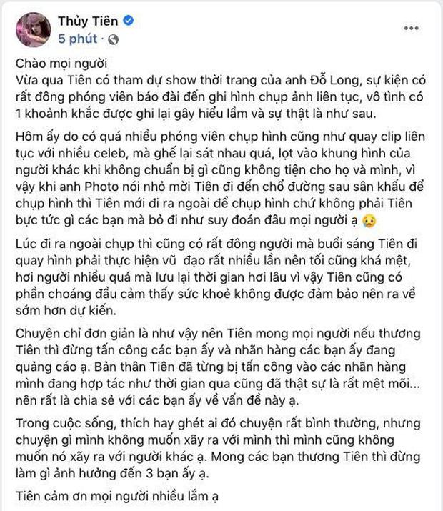 Thuỷ Tiên đăng status làm rõ clip nghi vấn Linh Chi - Lan Ngọc thái độ, nói về việc nhóm bạn này bị antifan khủng bố-1
