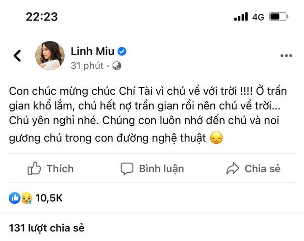 Linh Miu lên tiếng sau status chia buồn NS Chí Tài kiểu khó hiểu: Tâm tôi chính, tôi không sợ-3