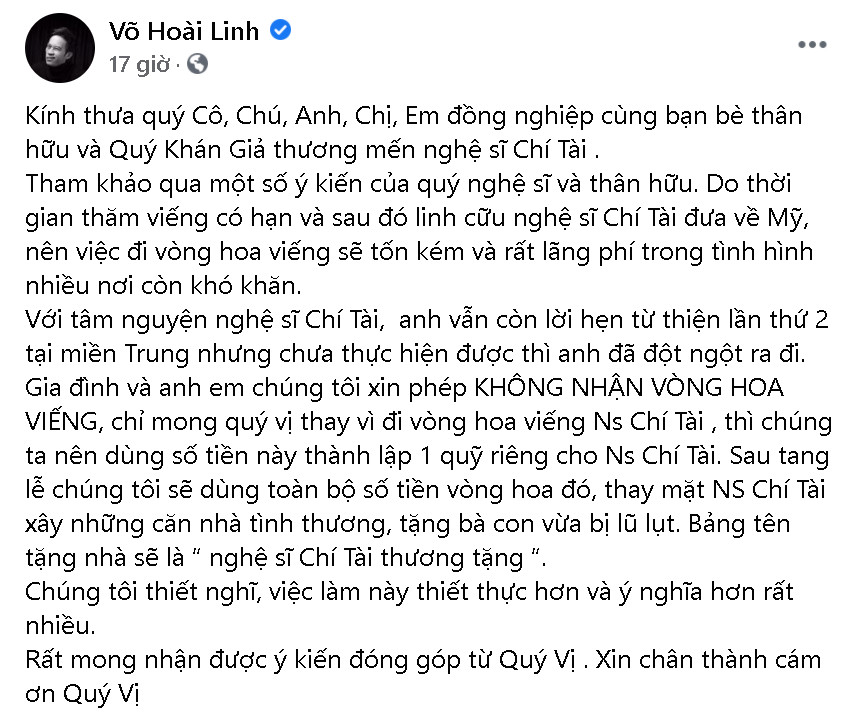 Hé lộ sự chuẩn bị chu đáo và tinh tế của Hoài Linh cho lễ tang nghệ sĩ Chí Tài-1