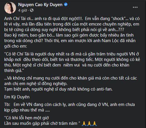 Phút cuối tiễn biệt cố nghệ sĩ Chí Tài, MC Kỳ Duyên nghẹn ngào: Tạm biệt anh, người nghệ sĩ duy nhất không có anti-fan.-3