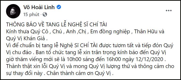 Phút cuối tiễn biệt cố nghệ sĩ Chí Tài, MC Kỳ Duyên nghẹn ngào: Tạm biệt anh, người nghệ sĩ duy nhất không có anti-fan.-4