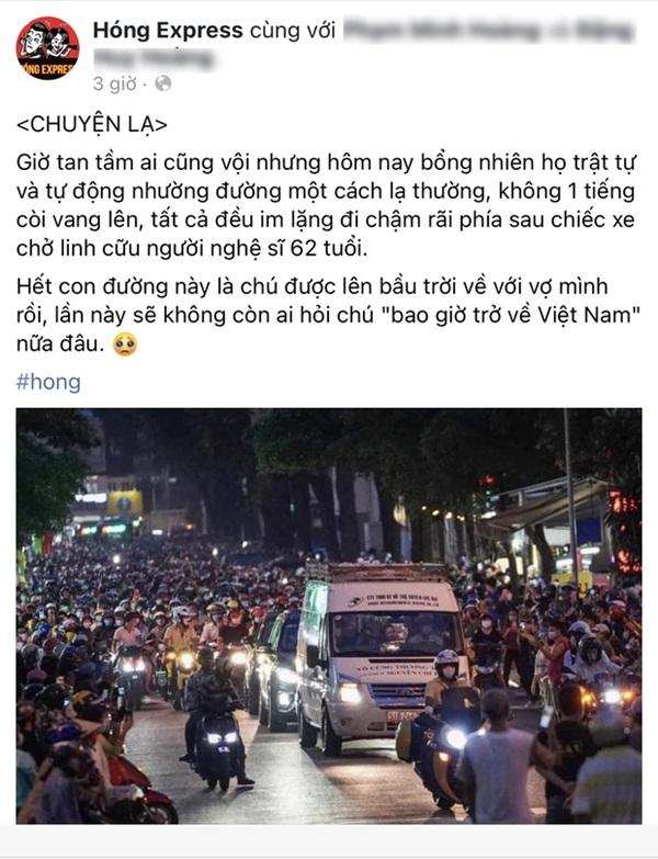Sài Gòn nay sao thật lạ: Hàng nghìn người theo sau tiễn NS Chí Tài một đoạn, không tiếng còi xe và lặng lẽ nhường đường-2