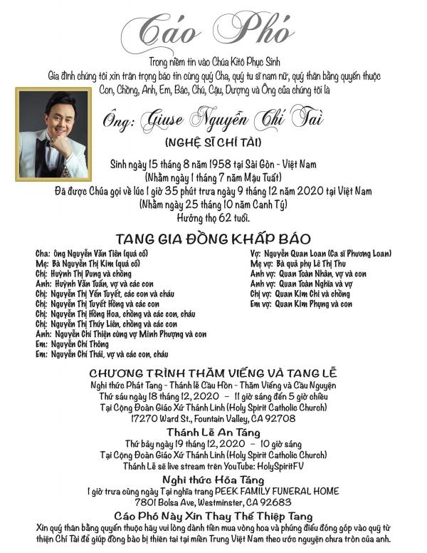 Lịch trình của linh cữu Chí Tài từ Việt Nam đến lúc hạ cánh tại Mỹ-4