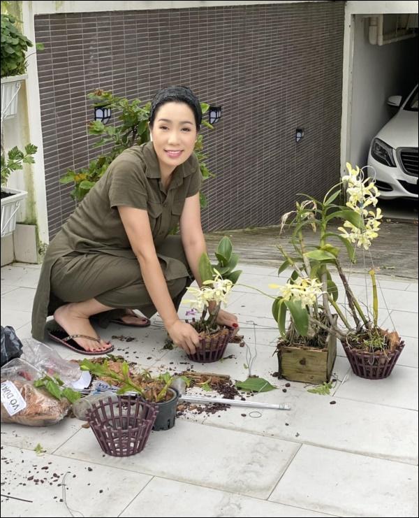 NSƯT Trịnh Kim Chi phụ chồng đại gia làm vườn, hé lộ vườn lan đắt giá trong biệt thự rộng 200m2-1