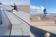 Khoảnh khắc người đàn ông trèo lên cánh máy bay khi chuẩn bị lăn bánh khiến người xem 'đứng hình'