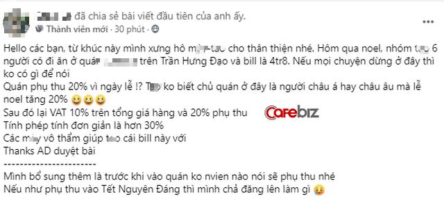Khách hàng tố quán ăn Sài Gòn chém đẹp dịp Noel: Tiền ăn 4,8 triệu đồng, phụ thu gần 1 triệu, thuế VAT 10% tính trên tổng hóa đơn đã có phụ thu-2