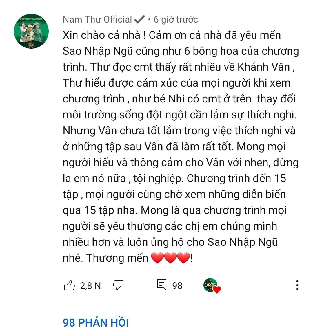 Khánh Vân bị cư dân mạng chỉ trích, hội chị em Sao nhập ngũ lập tức lên tiếng bênh vực-4