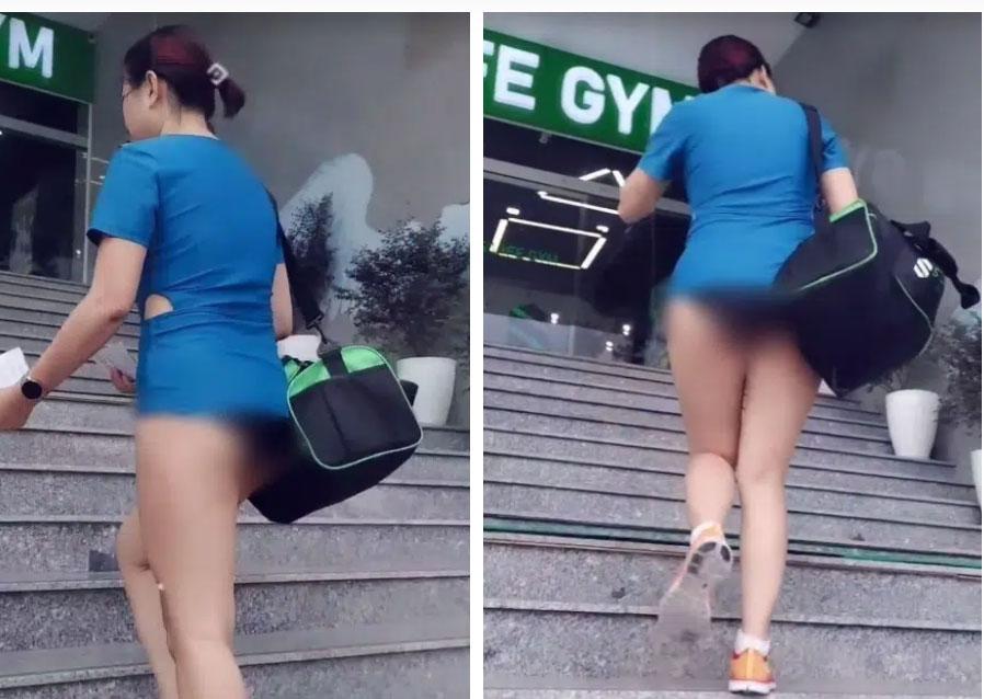 Người phụ nữ thả rông xuống đường cùng gia đình lại tiếp tục gây sốc khi mặc quần ngắn y hệt kiểu quần chip đến phòng tập gym-1