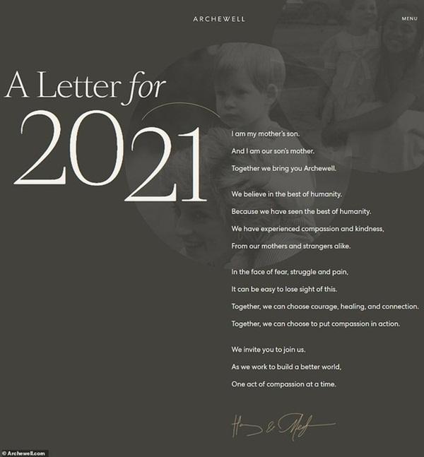 Ngay ngày đầu năm mới 2021, nhà Meghan Markle đã làm bùng nổ truyền thông bằng tấm hình Công nương Diana khi ra mắt trang web riêng-1