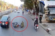 Video: Phanh gấp cứu người, xe ben gặp họa từ phía sau