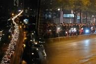 Cảnh trái ngược giữa 2 làn đường Lê Văn Lương: Một bên trống trải, một bên ùn tắc dài cả cây số