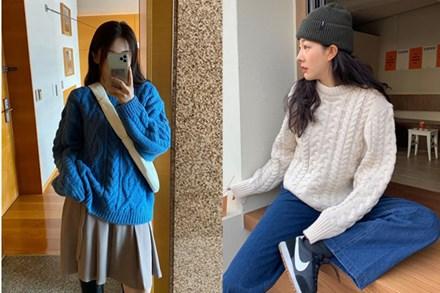 """Item được """"cưng"""" nhất mùa đông chính là áo len vặn thừng, con gái mix kiểu gì cũng xinh hết chỗ chê"""