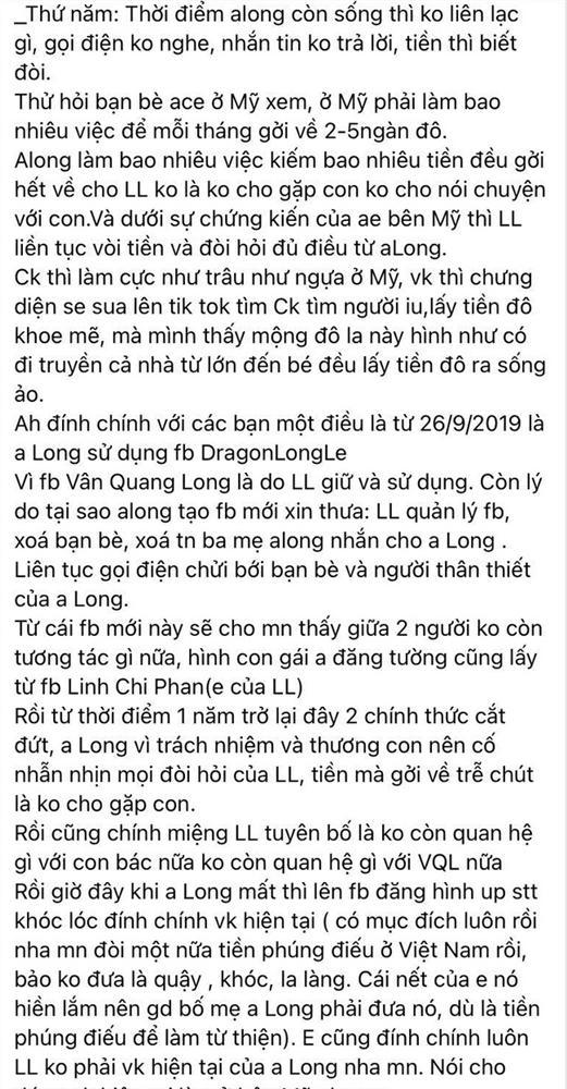 Bạn bè tiếp tục tiết lộ sự thật về mối quan hệ của vợ hai với Vân Quang Long trước khi qua đời: Không liên lạc, chỉ biết đòi tiền-3
