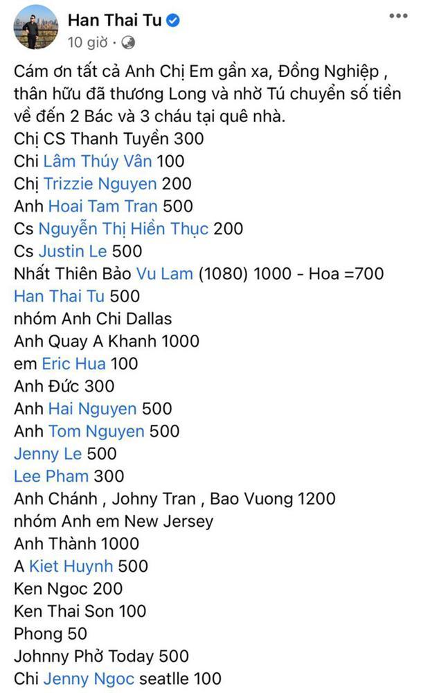 Hàn Thái Tú công khai chi tiết số tiền phúng điếu trong tang lễ ca sĩ Vân Quang Long tại Mỹ-1
