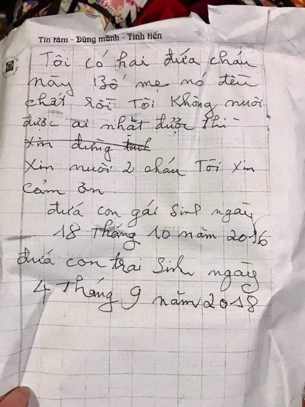 Hà Nội: 2 cháu nhỏ 3 và 5 tuổi bị bỏ rơi giữa thời tiết 10 độ kèm bức thư bố mẹ chết rồi, ai nhặt được xin nuôi hộ-2
