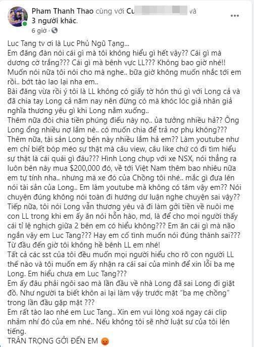 Phạm Thanh Thảo tiết lộ con gái lớn của Vân Quang Long không dám đi học, lộ tin nhắn xin lỗi của Linh Lan?-4