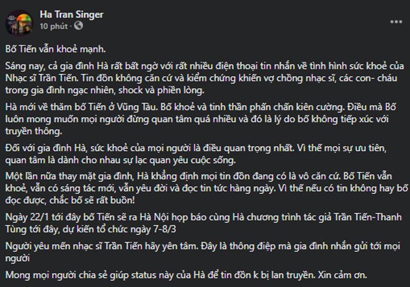 Ca sĩ Hà Trần chính thức lên tiếng về thông tin NS Trần Tiến qua đời-1