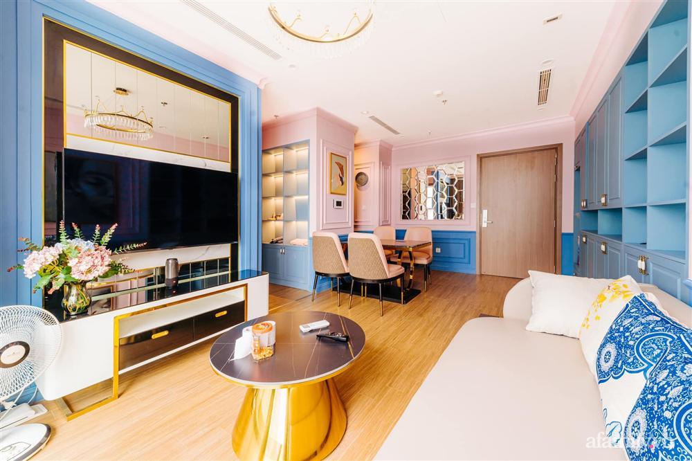Căn hộ 45m² đẹp không góc chết với điểm nhấn là hai gam màu xanh hồng cực chất có chi phí hoàn thiện 200 triệu đồng ở Hà Nội-1