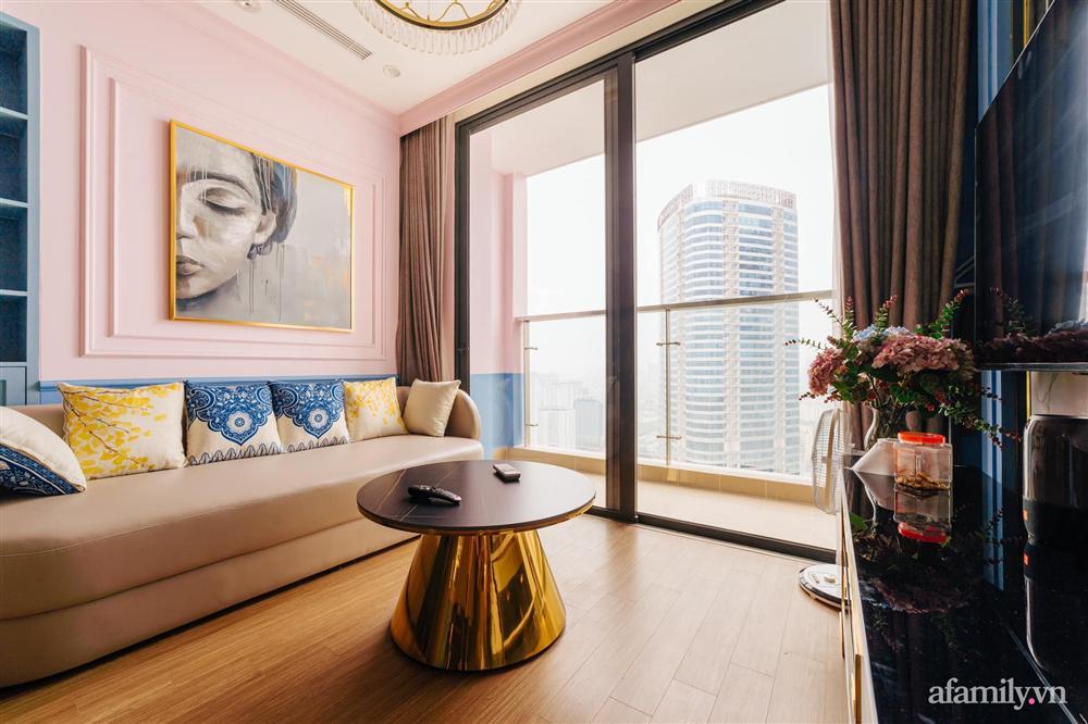 Căn hộ 45m² đẹp không góc chết với điểm nhấn là hai gam màu xanh hồng cực chất có chi phí hoàn thiện 200 triệu đồng ở Hà Nội-2