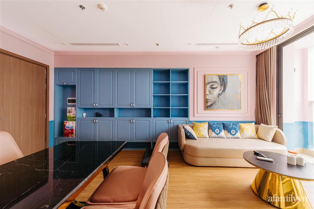 Căn hộ 45m² đẹp không góc chết với điểm nhấn là hai gam màu xanh hồng cực chất có chi phí hoàn thiện 200 triệu đồng ở Hà Nội-8
