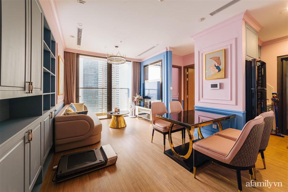 Căn hộ 45m² đẹp không góc chết với điểm nhấn là hai gam màu xanh hồng cực chất có chi phí hoàn thiện 200 triệu đồng ở Hà Nội-11