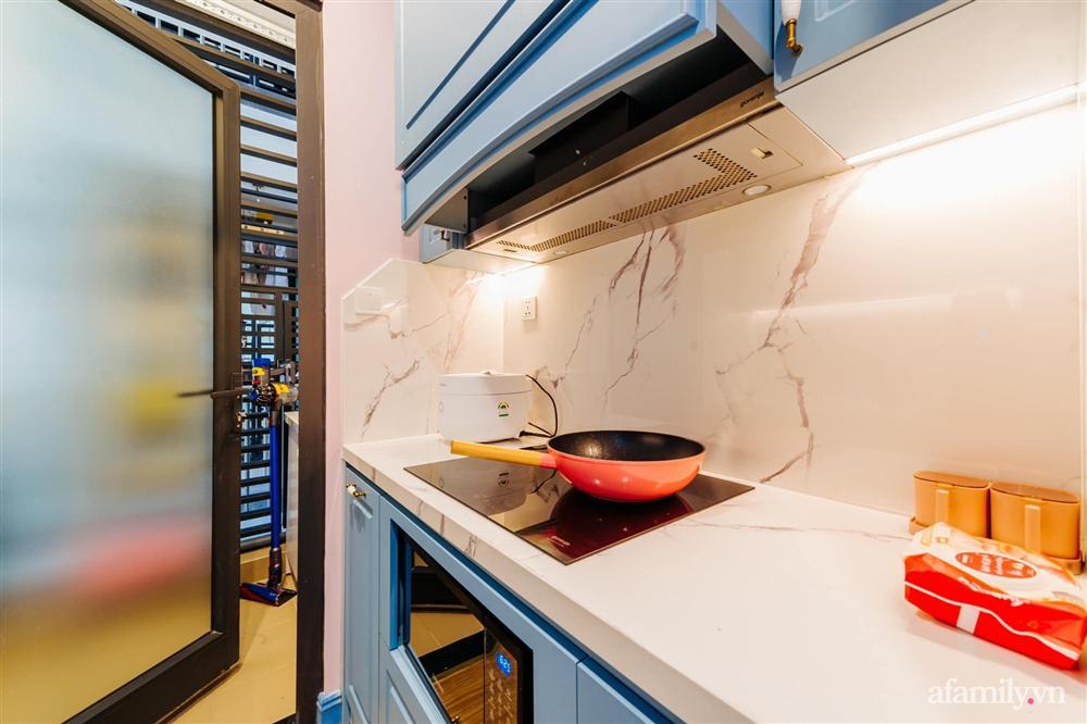 Căn hộ 45m² đẹp không góc chết với điểm nhấn là hai gam màu xanh hồng cực chất có chi phí hoàn thiện 200 triệu đồng ở Hà Nội-15