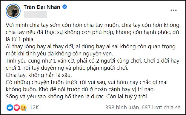 Giữa drama Sơn Tùng - Thiều Bảo Trâm, Đại Nhân nói về chia tay gây tranh cãi-3