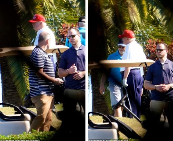 Những hình ảnh đầu tiên của ông Trump sau khi chính thức mãn nhiệm và rời khỏi Nhà Trắng, dòng chữ trên mũ ông đội thu hút sự chú ý-1