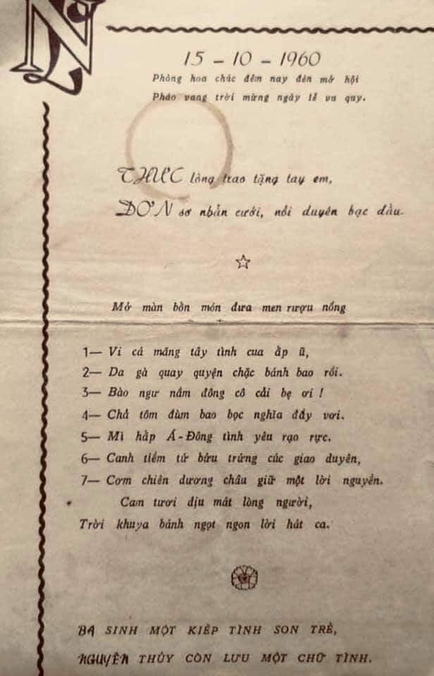 Thú vị menu đám cưới tại Chợ Lớn năm 1960, đọc một lượt thì thành bài thơ, nhưng tên riêng từng món lại là lời chúc phúc dành cho cô dâu, chú rể-1