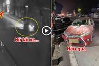 Clip: Khoảnh khắc nữ tài xế lái ô tô đâm vào cột điện, lộn một vòng trên đường