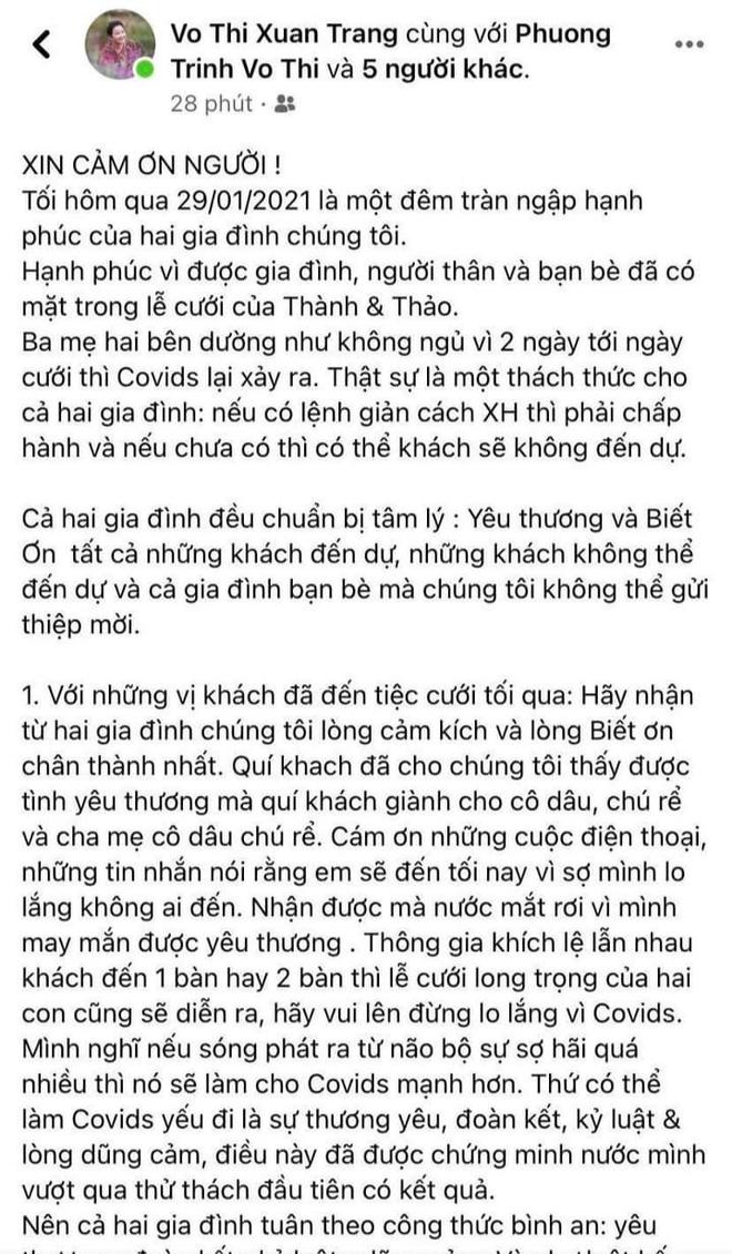 Mẹ vợ Phan Thành tiết lộ 2 gia đình mất ngủ trước đám cưới vì COVID-19, không thể mời hết khách khi chỉ có 800 chỗ-2