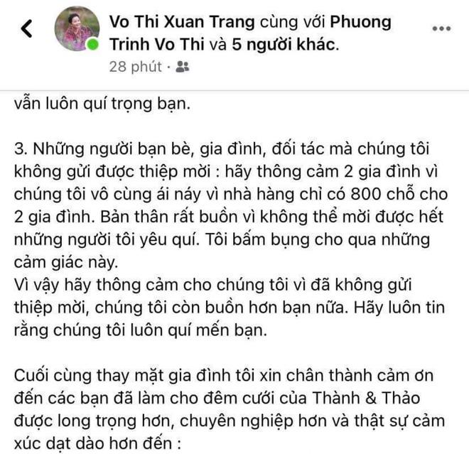 Mẹ vợ Phan Thành tiết lộ 2 gia đình mất ngủ trước đám cưới vì COVID-19, không thể mời hết khách khi chỉ có 800 chỗ-3