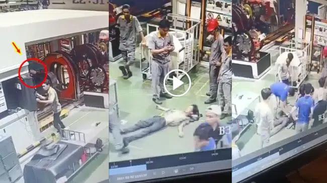 Clip: Kinh hoàng khoảnh khắc nam công nhân bị cuốn kẹt cổ vào máy-1
