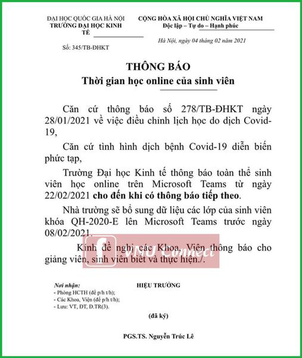 Trường ĐH đầu tiên cho sinh viên học online sau Tết Nguyên đán đến khi có thông báo mới-1