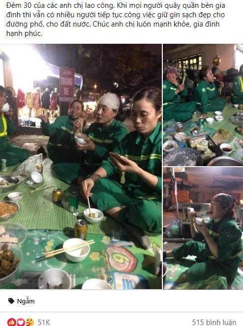 Hình ảnh bữa cơm tất niên đặc biệt bên lề đường của những nữ lao công gây xúc động, giản dị và vội vã nhưng nụ cười vẫn nở trên môi-1
