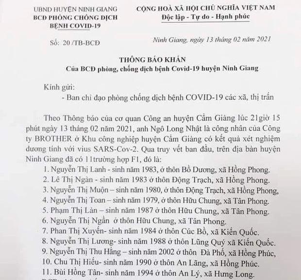 KHẨN: Những ai tiếp xúc với 11 công dân và lái xe ô tô huyện Ninh Giang khẩn trương khai báo y tế-1