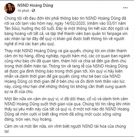 Đại diện cố NSND Hoàng Dũng thông báo về tang lễ trên fanpage, gửi lời nhắn đặc biệt đến khán giả-1