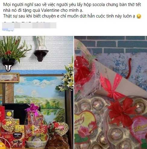 Được người yêu lấy hộp sô cô la chưng bàn thờ Tết mang tặng Valentine, cô gái tưởng chia tay đến nơi nhưng nào ngờ dân mạng lại khuyên nên tiếp tục vì lý do chính đáng này-1