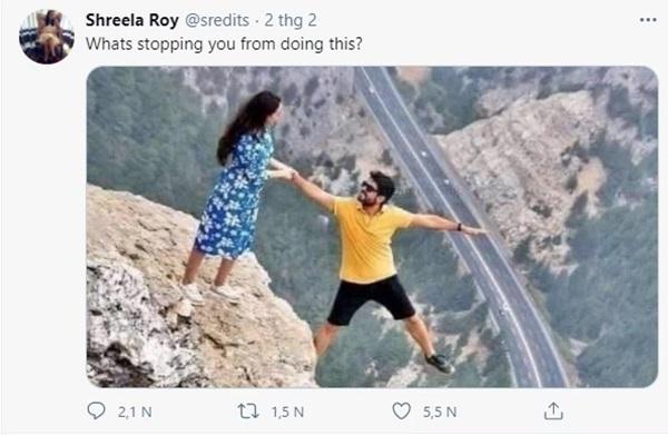 Đăng bức ảnh chụp trên vách đá cheo leo, cặp đôi bị ném đá tơi bời vì quá mạo hiểm, nhưng sự thật phía sau khiến tất cả câm nín-2