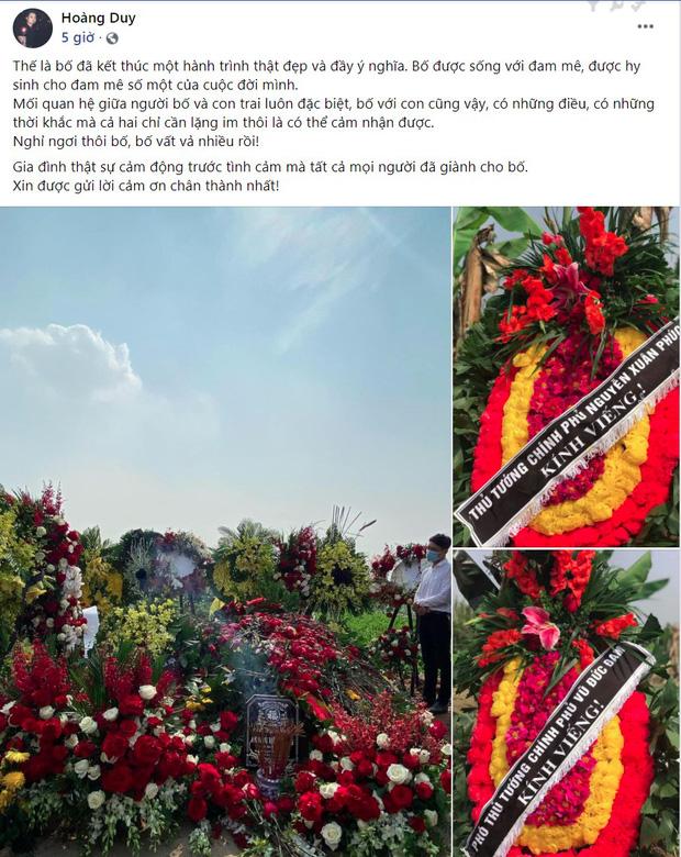 """Con trai viết status tiễn biệt NSND Hoàng Dũng kèm hình ảnh phần mộ phủ kín hoa: Nghỉ ngơi thôi bố, bố vất vả nhiều rồi!""""-1"""