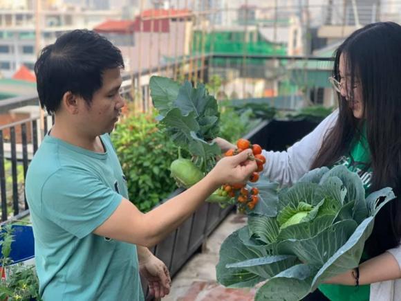Ca sĩ Trọng Tấn và con gái thu hoạch rau trồng trên tầng thượng-1
