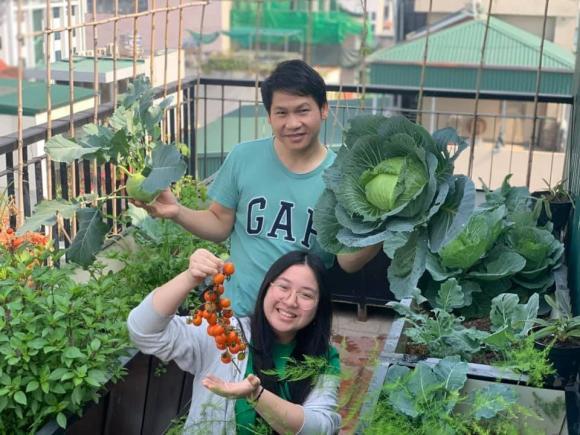 Ca sĩ Trọng Tấn và con gái thu hoạch rau trồng trên tầng thượng-4